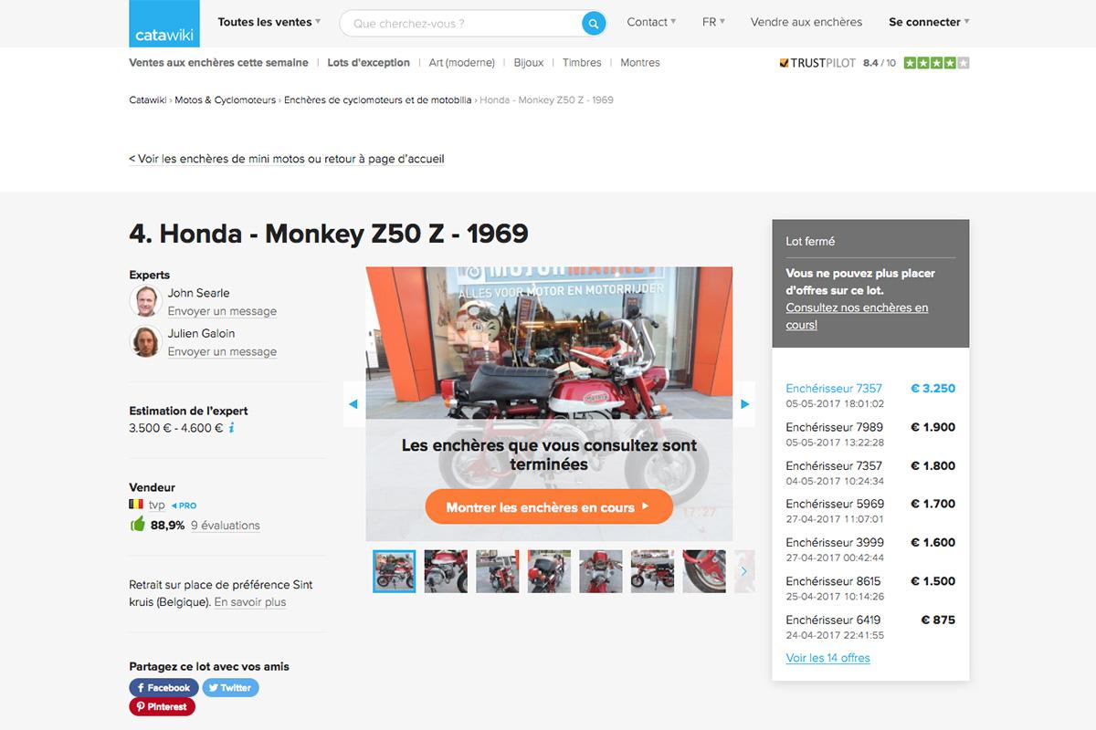 Vente de Honda Monkey sur le site Catawiki - mini4temps.fr
