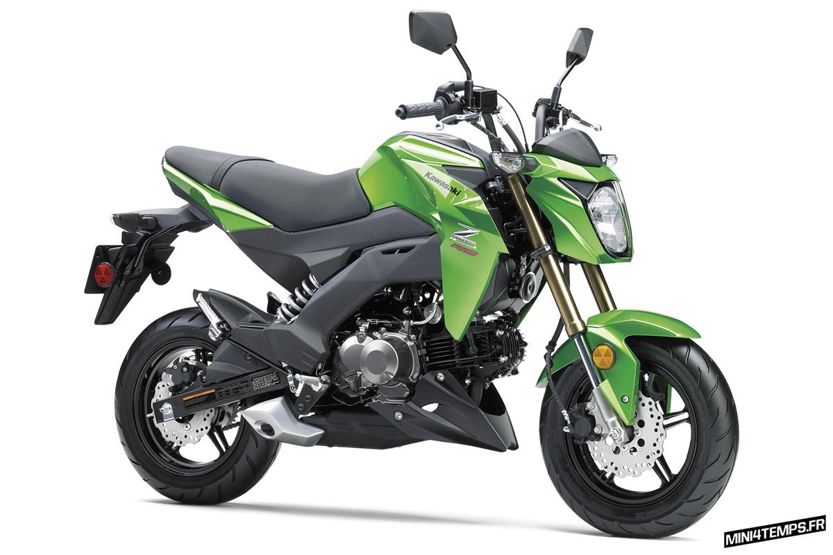 """Kawasaki Z125 Pro 2017 """"Candy Lime Green"""" - mini4temps.fr"""