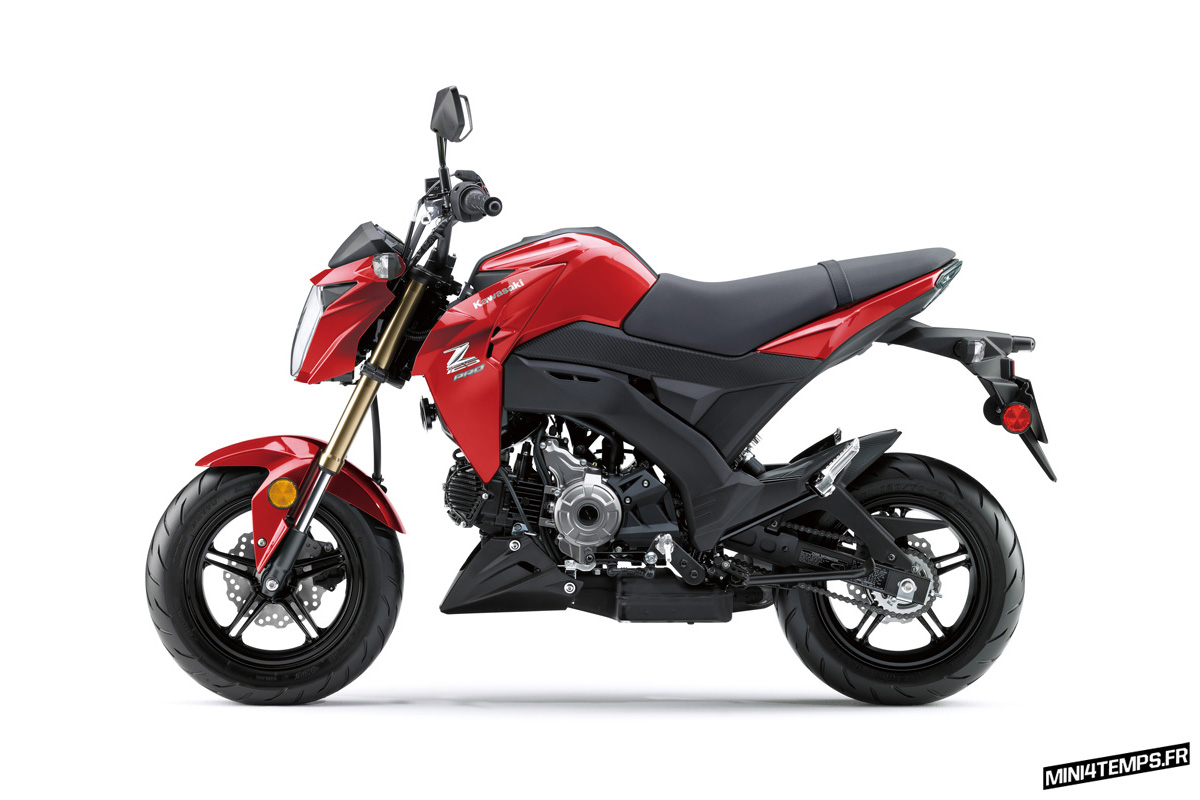 Kawasaki Z125 Pro 2017 Candy Persimmon Red - mini4temps.fr