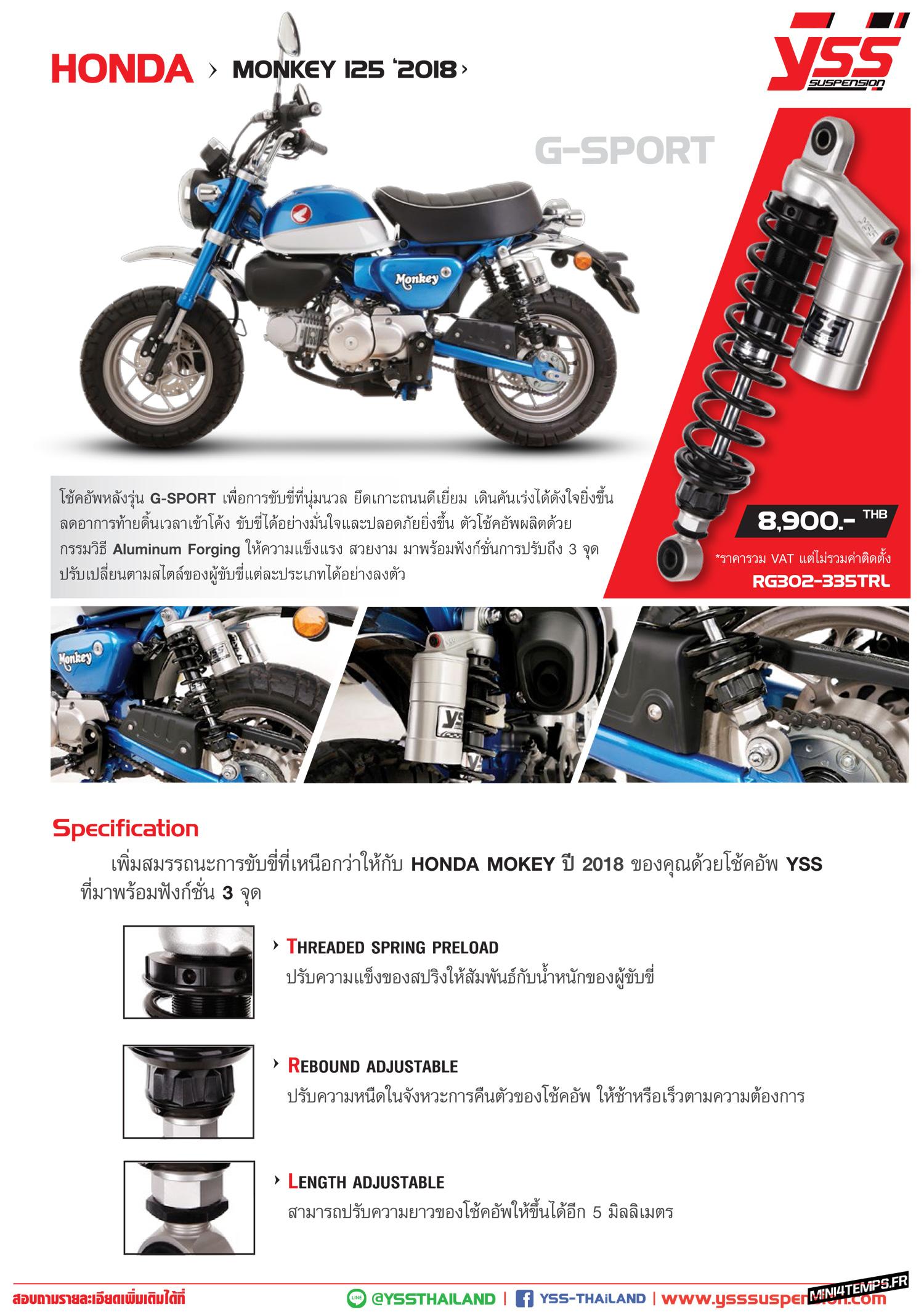 Des amortisseurs YSS pour le Honda Monkey 125 2018 - mini4temps.fr