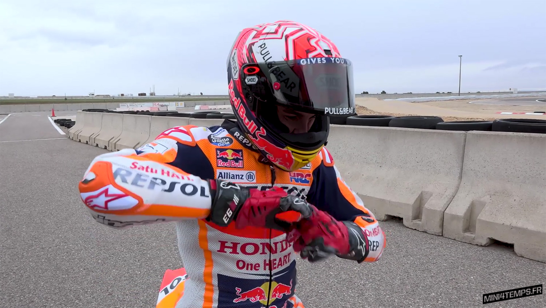 La reprise de Marc Marquez sur une Honda NFS 100 - mini4temps.fr