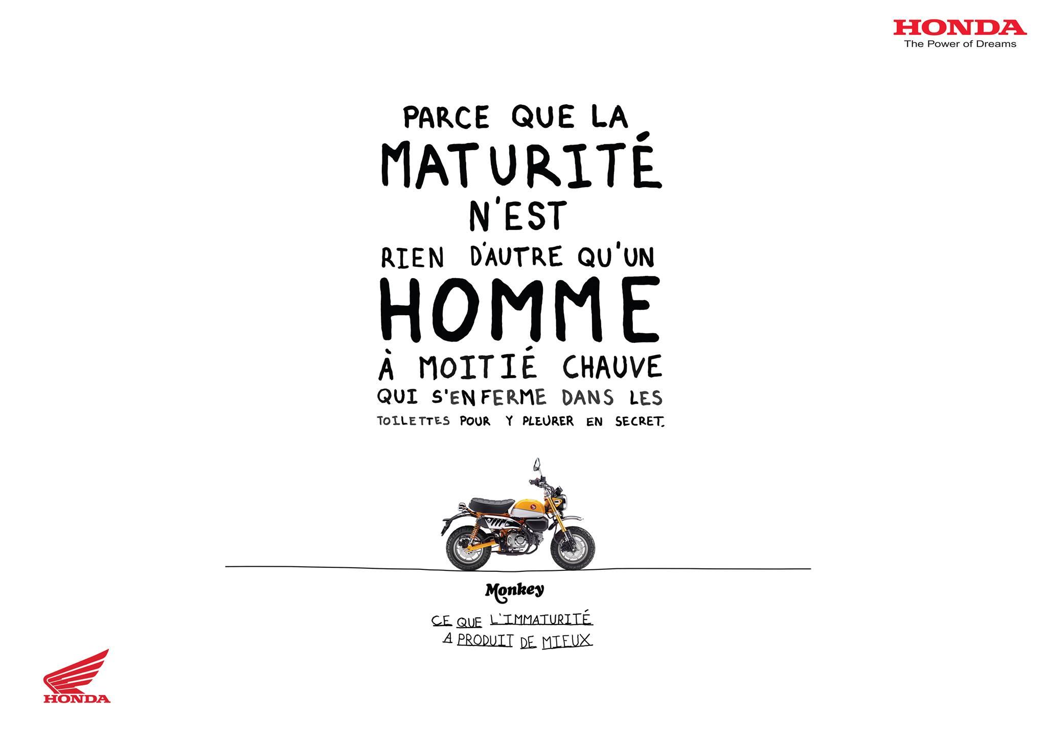 Campagne de publicité pour le Honda Monkey 125 par DDB Paris - mini4temps.fr