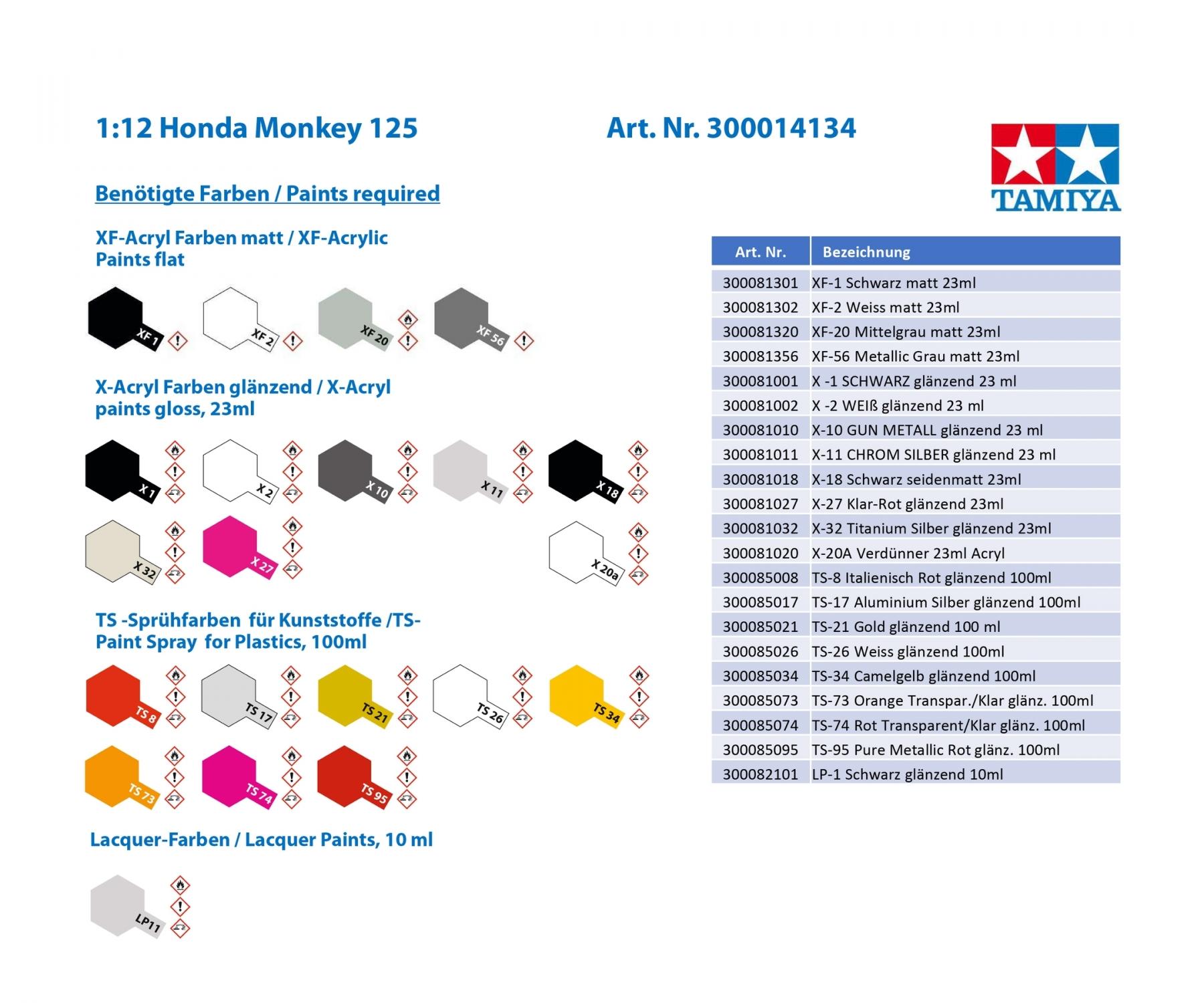 Maquette Tamiya Honda Monkey 125 1/12 - mini4temps.fr